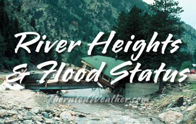 Northeastern Colorado river heights and flood status.