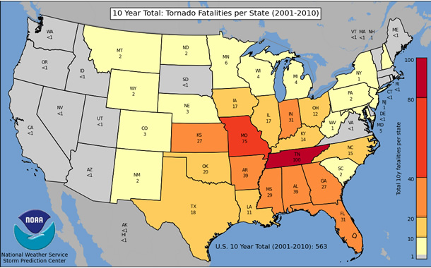 10 Year Total: Tornado Fatalities per State (2001-2010)